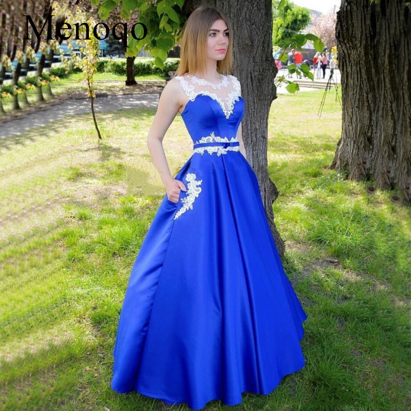 Blue   Prom     Dresses   2019 Sheer Neck Floor Length with Pockets