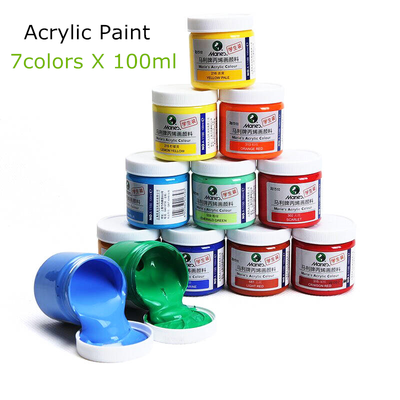 Marley 7 colors 100ml tube acrylic paints set color nail for Can i paint glass with acrylic paint