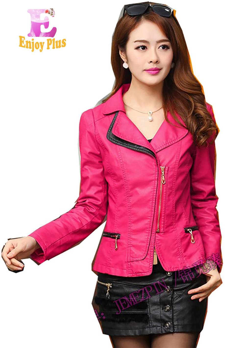 S M L XL XXL 3XL 4XL chest 84-108cm PU leather vintage new autumn 2018 faux short jacket women large size motorcycle slim lady
