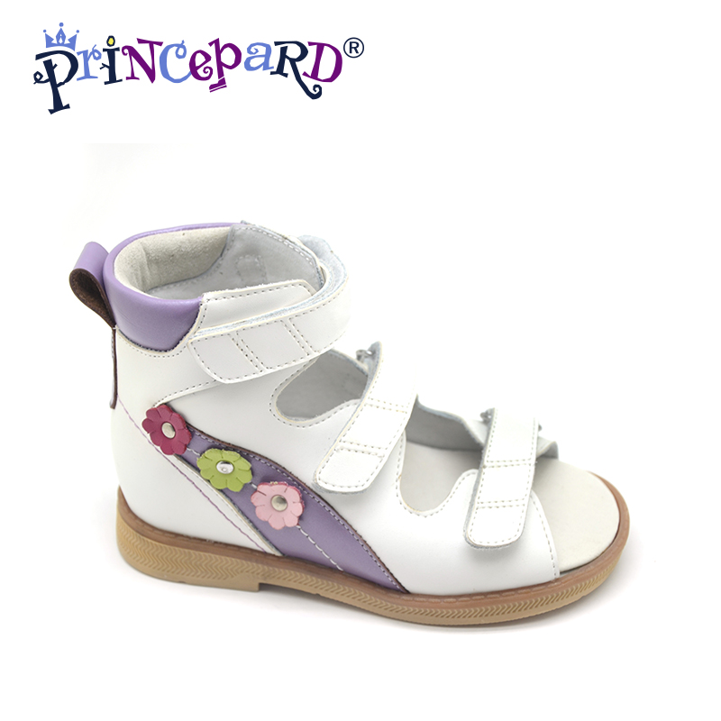 Princepard Need Customize in Advance 20 days red/white genuine leather sandals baby Orthopedic shoes for girls