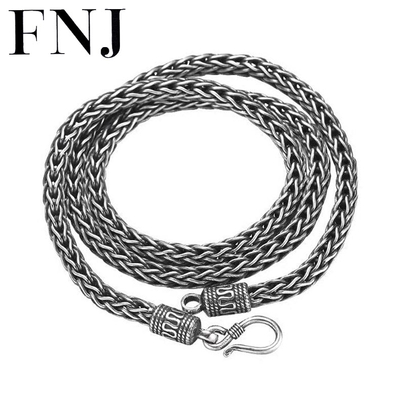 FNJ 925 Silver Wire-cable Chain for Jewelry Making width 4mm 5mm New Fashion Original S925 Thai Silver Women Necklace
