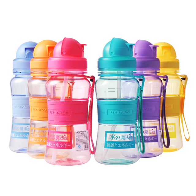 e5e40ad0ed1 UZSPACE 350ML Water bottle Children Baby Cartoon Mini Lovely Eco-friendly  With Straw Type Plastic Water bottles