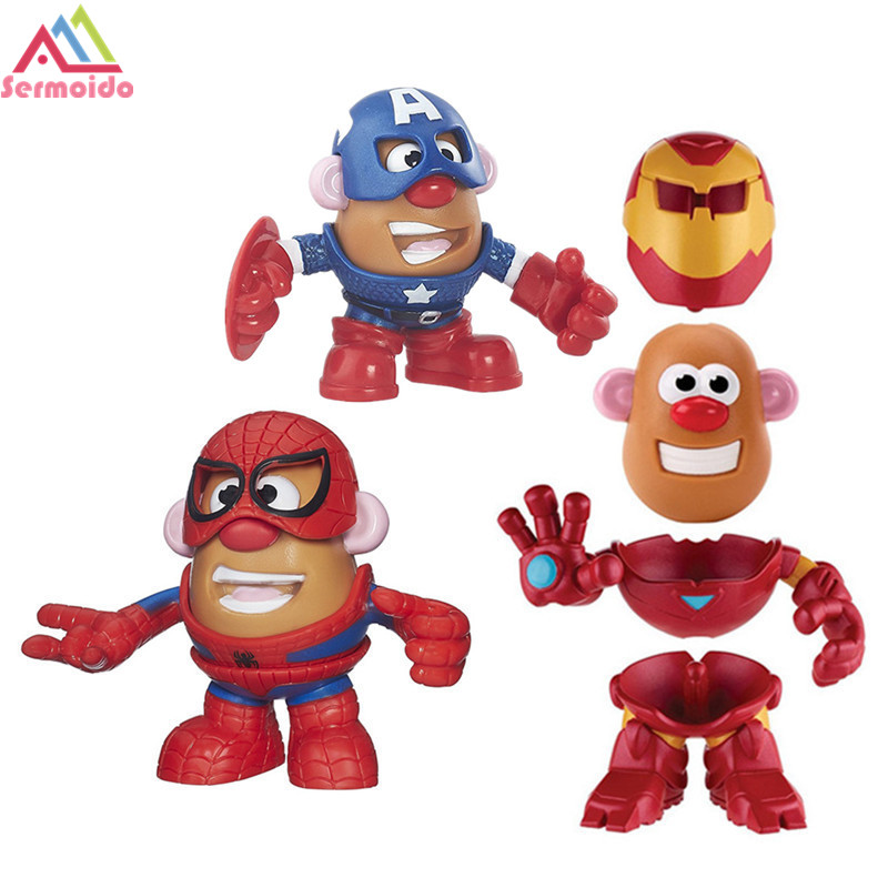 SERMOIDO Super Hero Mr. Potato Head Spider-man Iron Man America Captain DIY Assembly Action & Toy Figures Collectible Doll B89