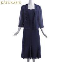 Kate Kasin Women 2pcs Set Chiffon Evening Dresses Open Front Jacket Tea Length Party Gown Navy