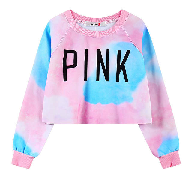 f409a22f051 placeholder Cropped Crewneck Tie dye Love Pink Women s Sweatshirt That for  Cool Harajuku style Girls Hip hop