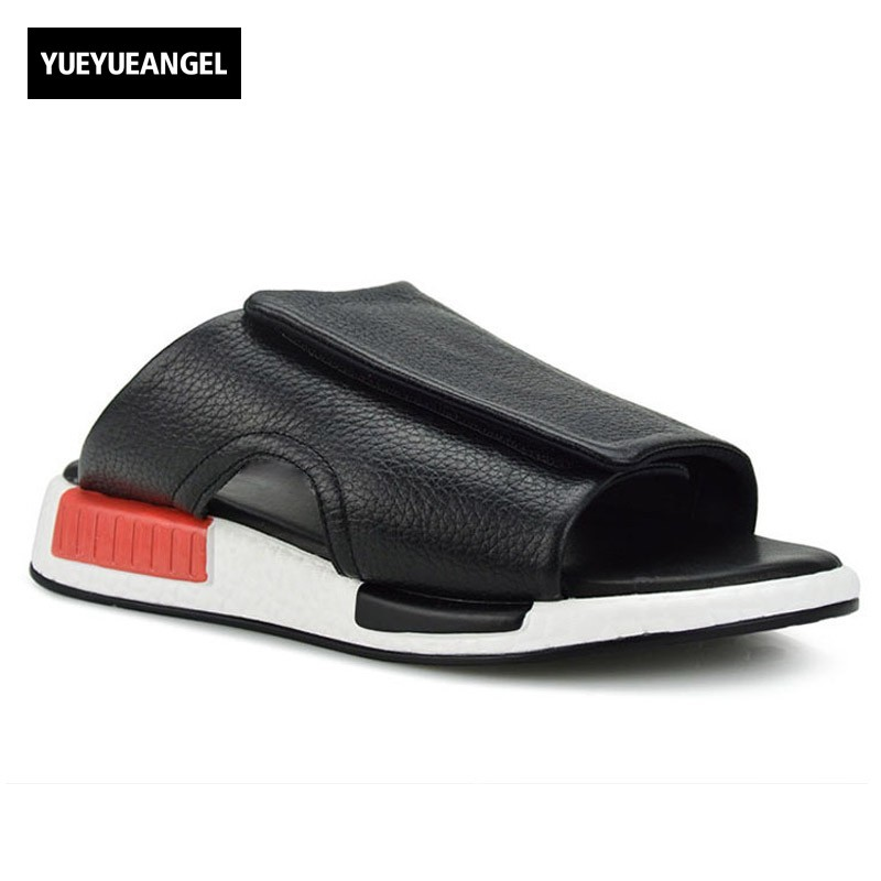 Brand New Men Slip On Slipper Harajuku Thick Platform Casual Beach Holiday Sandals 2018 New Fashion Genuine Leather Shoes Male
