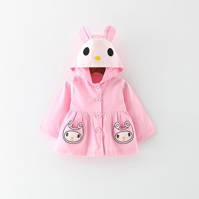 New 2017 spring autumn Korean coat for girls windbreaker jacket Cartoon children trench toddler girl trench coat 1-2-3-3.5 Year