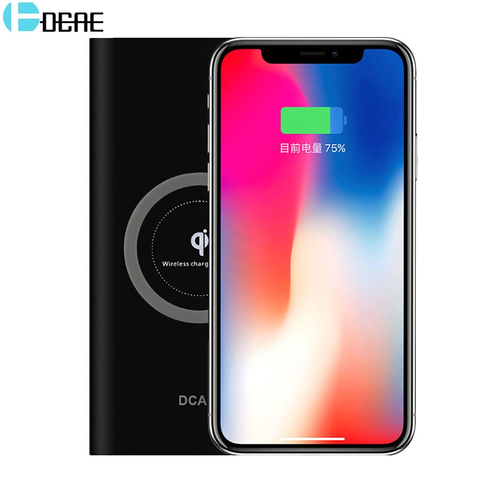 DCAE QI Wireless Charger Power Bank for iphone X 8 samsung galaxy s9 s8 xiaomi 10000 mAh Portable Powerbank Mobile Phone Charger