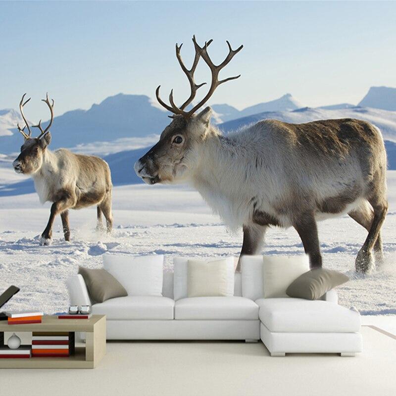 Custom Any Size 3D Wall Mural Wallpaper Snow Elk Nature Landscape Wall Painting Living Room Sofa Bedroom Wall Decor Paper Deer
