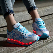 LED Shoes 2016 for Adult USB Charging Women Shoes  Luminous Lights Up chaussures femme Fashion High Quality women Casual Shoe
