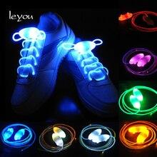 Leyou Led шнурки для спортивной обуви светящиеся шнурки для обуви Круглые Светящиеся светлые шнурки Светящиеся без шнурков шнурки для ленивых ботинок Горячая Новинка