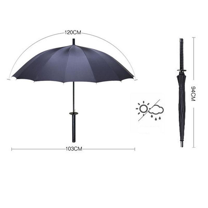 HHYUKIMI Drop Shipping Windproof Samurai Sword Sun Rainny Umbrella Ninja-like Straight Long Handle Ribs Umbrella Manual Open