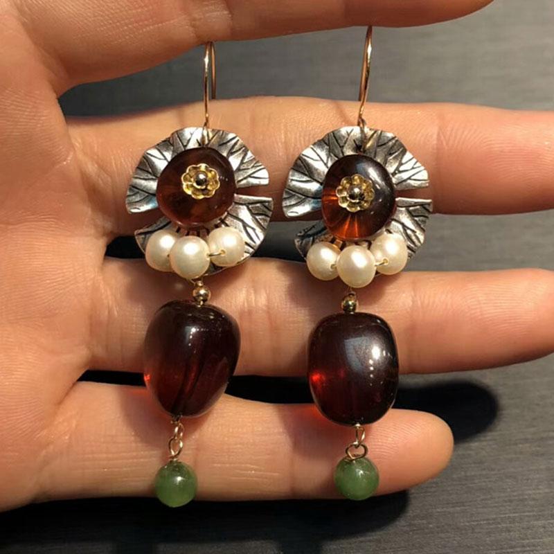 Boucles d'oreilles RADHORS véritable 925 argent Sterling incrusté 100% boucle d'oreille ambre naturel pour les femmes Style classique bijoux fins