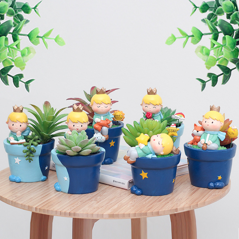 Cute Succulent Planter Small Ornament Cute Prince Pots Resin Little Boy Flowerpot Bonsai Garden Yard Decor Birthday Gifts(China)