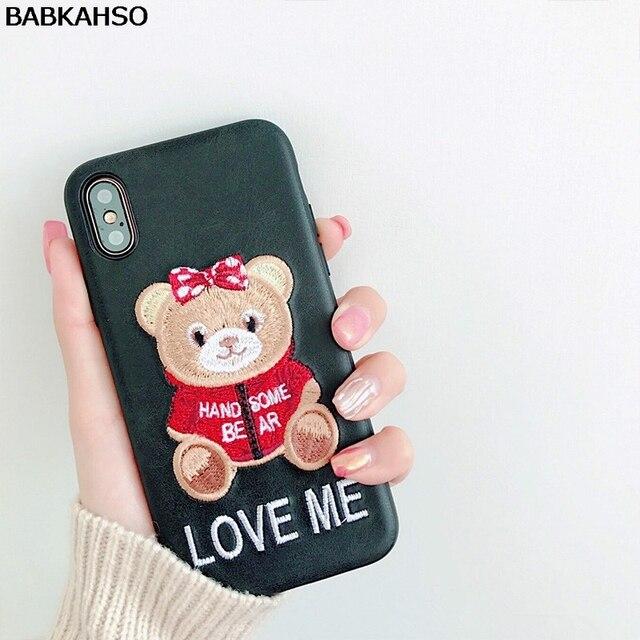 BABKAHSO Embroidery Bear Lovely Cartoon Case for iphone X 7...
