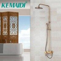 KEMAIDI современный Ванная комната кран античная латунь водопад набор для душа горячей и холодной смесители краны Настенный осадков смесители