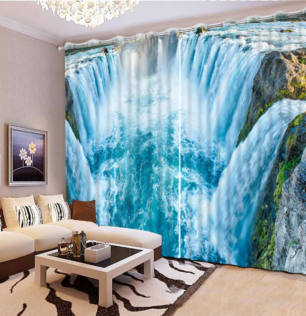 Blackout curtain for living room custom curtains Nature waterfall scenery blackout curtains for bedroom nature window curtains