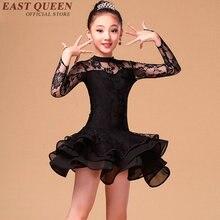 Salsa dance costume girl costume children sexy lace Tango Latin Samba Rumba Ballroom Dancing Dress black red white KK617 S