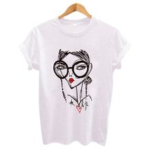 Hipster Cool Girl Print Women t shirt 2018 Summer Short slee