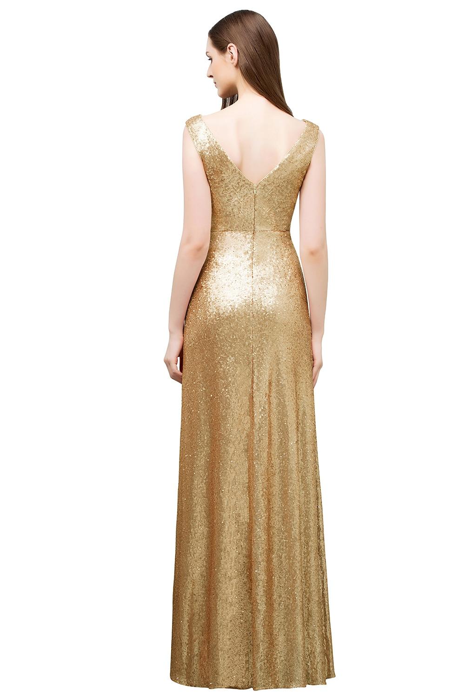 Babyonline Champagne Sequin Long Prom Dresses 2018 Sleeveless Formal ...