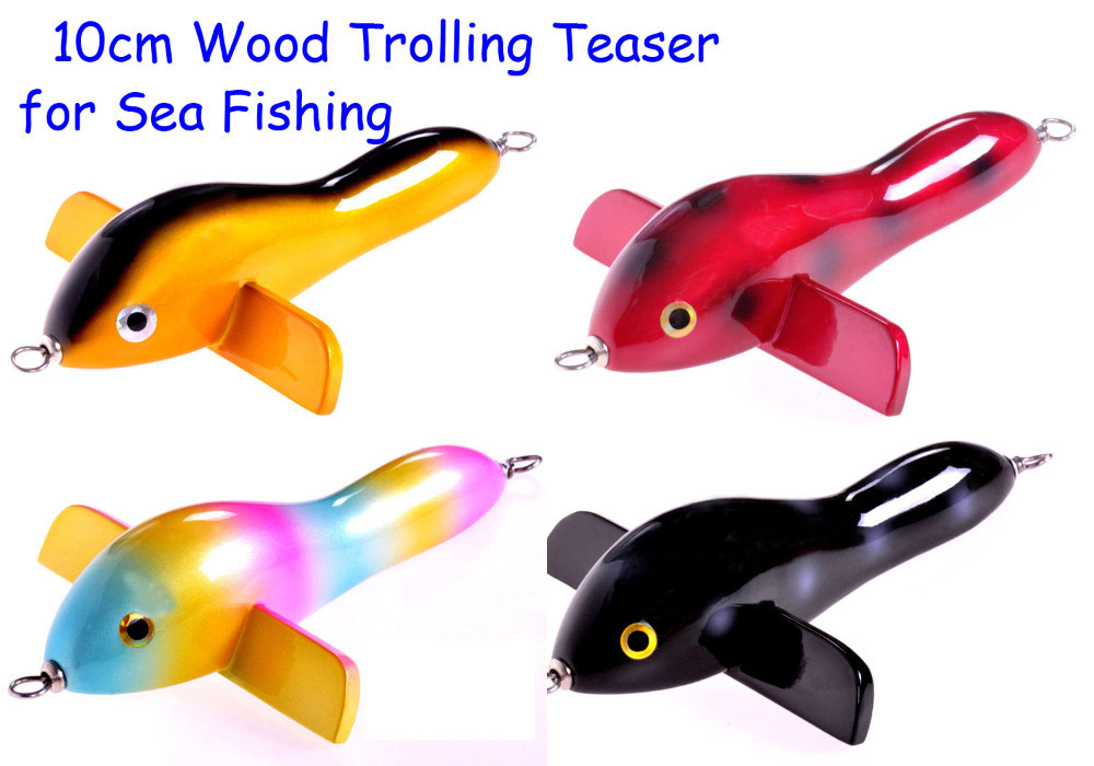 10cm Handmade Sea Fishing Wooden Trolling Teaser Wood Bird Bait Saltwalter Lure for Ocean Boat Fishing Four Colors baricco a ocean sea