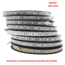 5M/lot 60LEDs/m DC12V 5050 SMD White/Warm White/Red/Green/Yellow/Blue/Pink/RGB/UV/RGBW/RGBWW Flexible Led Strip Light tape цена в Москве и Питере