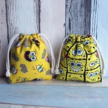 IVYYE 14 or 17CM SpongeBob Cartoon Drawstring Bags Canvas Storage Handbags Makeup Bag Coin Bundle Pocket Purse NEW