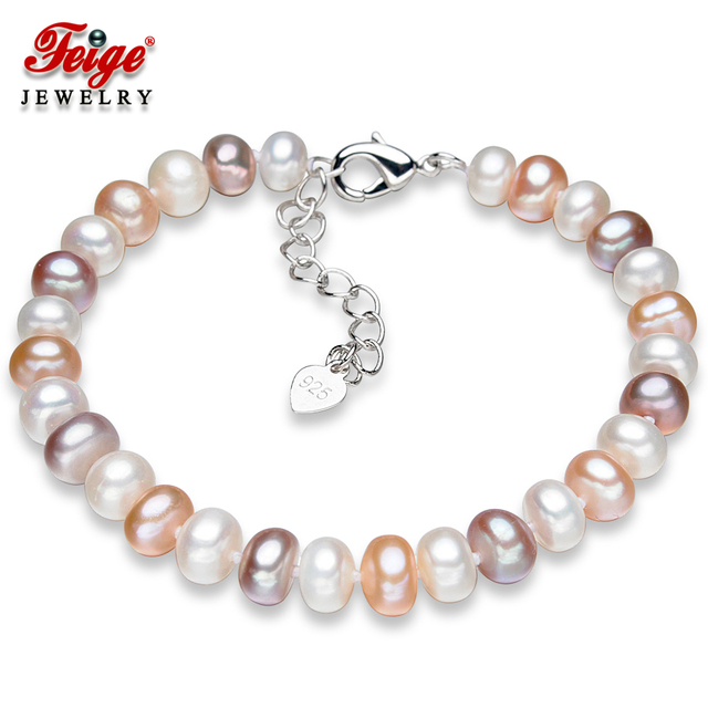 573054cdb55 FEIGE Popular style 6.5-7.5mm Multicolor Natural Freshwater Pearl Strand  Bracelets for Women Long Chain Hooks Fine Jewelry