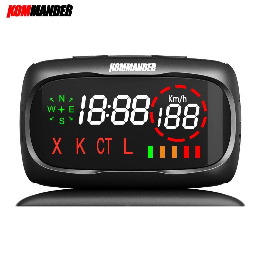 Kommander voiture radar Détecteur Anti-radar Anti Police Vitesse Caméra avec GPS 2 dans 1 pour Russe peut Détection X K CT Bandes L