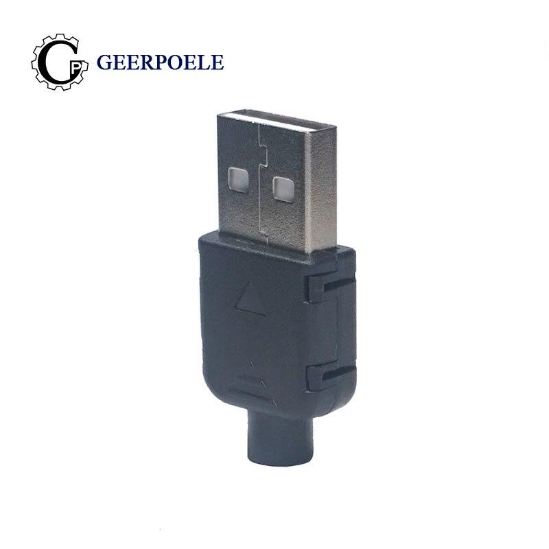 цена на 10 pcs/lot Male Type A 4Pin Black snap-on triangle Connectors Plastic Shell Micro USB Connector Jack Tail Plug Mini Sockect