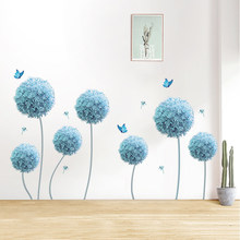 Butterfly Flying In Blue Dandelion Bedroom Wall Stickers PVC DIY Flowers Decals for Living Room Decoration
