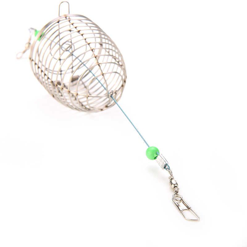 1 Pcs Pequeno Alimentador Titular Cesta Armadilha Gaiola Isca Isca de Pesca Isca De Pesca Fio de Aço Inoxidável Gaiola Isca De Peixe Isca de Pesca acessórios