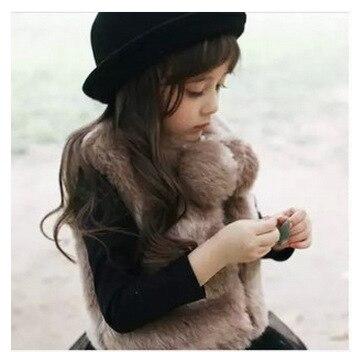 2-8Y Autumn Children Jackets Vests Kids Winter Vests Girl Faux Fur Vest Girl Fashion Faux Fur Baby Girls Vest Outerwear Clothing