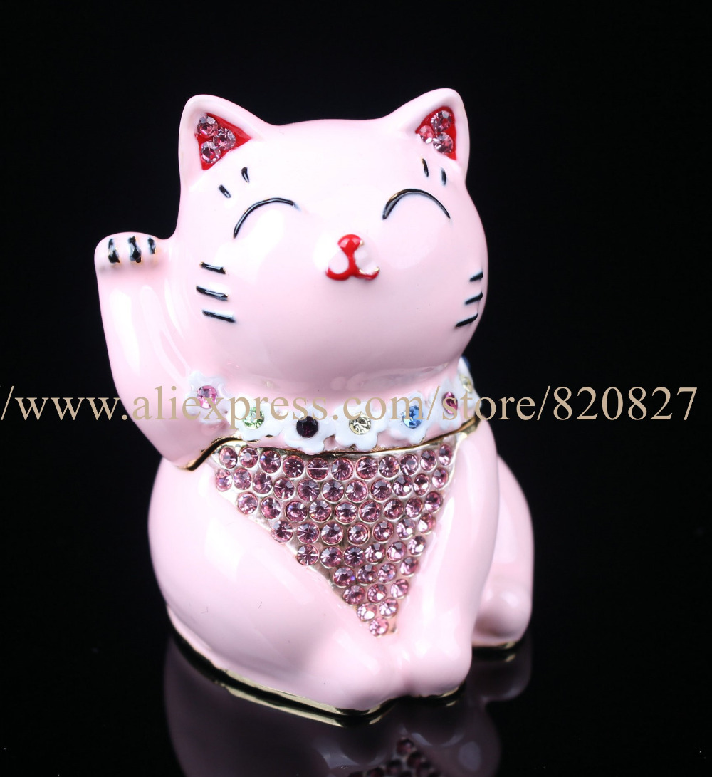Hinged Jeweled Trinket Box Cute Japan Lucky Cat Jewelry Earring Holder Box Kitty Cat Jewel Studded Jewelry/Trinket Box Figurine