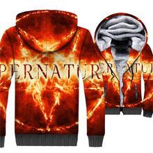 Supernatural Hoodies Men 3D Sweatshirt 2018 New Design Winter Thick Fleece Warm Zipper Coat SPN Jackets Fitness Sportswear 5XL