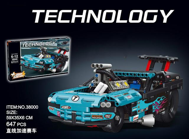 LEPIN 647 unids Serie Técnica 38000 Ladrillos de bloques de Construcción bloques de Construcción de Juguetes de Montaje Modelo de Auto de Carreras compatible 42050