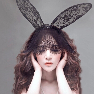 Fun cute bunny rabbit ears mask lace cosplay