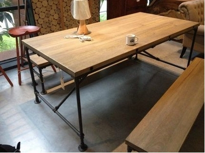 American Iron Wood Dinette Table Office Conference Table Rectangular - Rectangular retro diner table