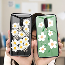 Tempered Glass Phone Case For Oneplus 7 Pro 6 6T 5 5T Luxury Cartoon Flower Back Cover
