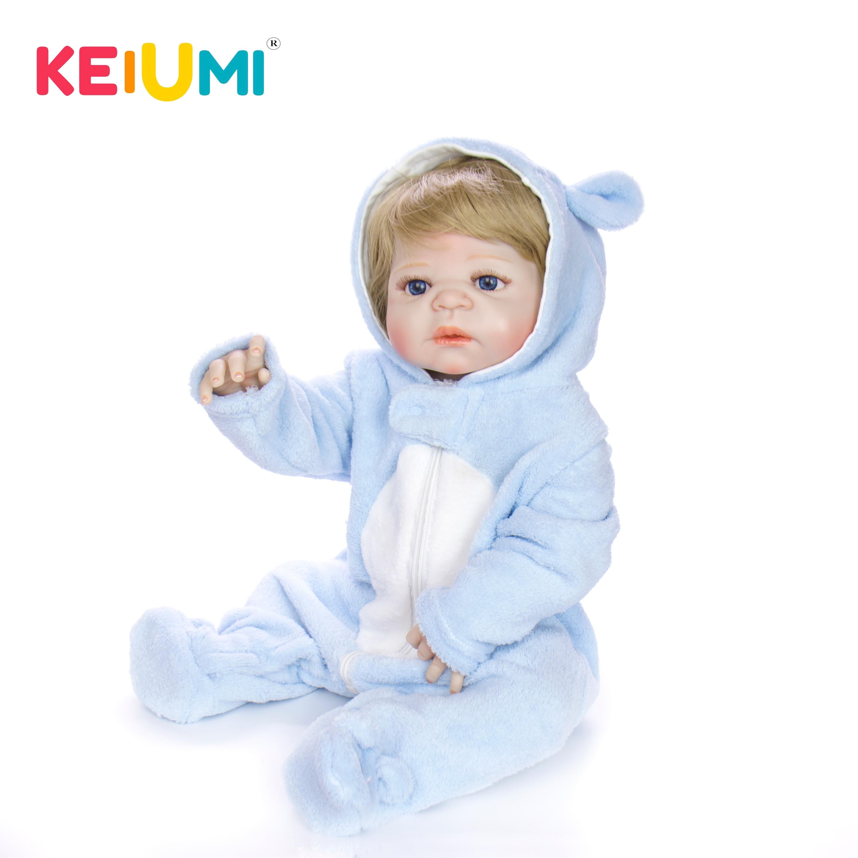 KEIUMI 23 ''realistyczne pełna silikonowe ciała Reborn Baby Boy piękne złote włosy Baby Doll zabawki dla małych dzieci kąpać się prezenty w Lalki od Zabawki i hobby na  Grupa 2