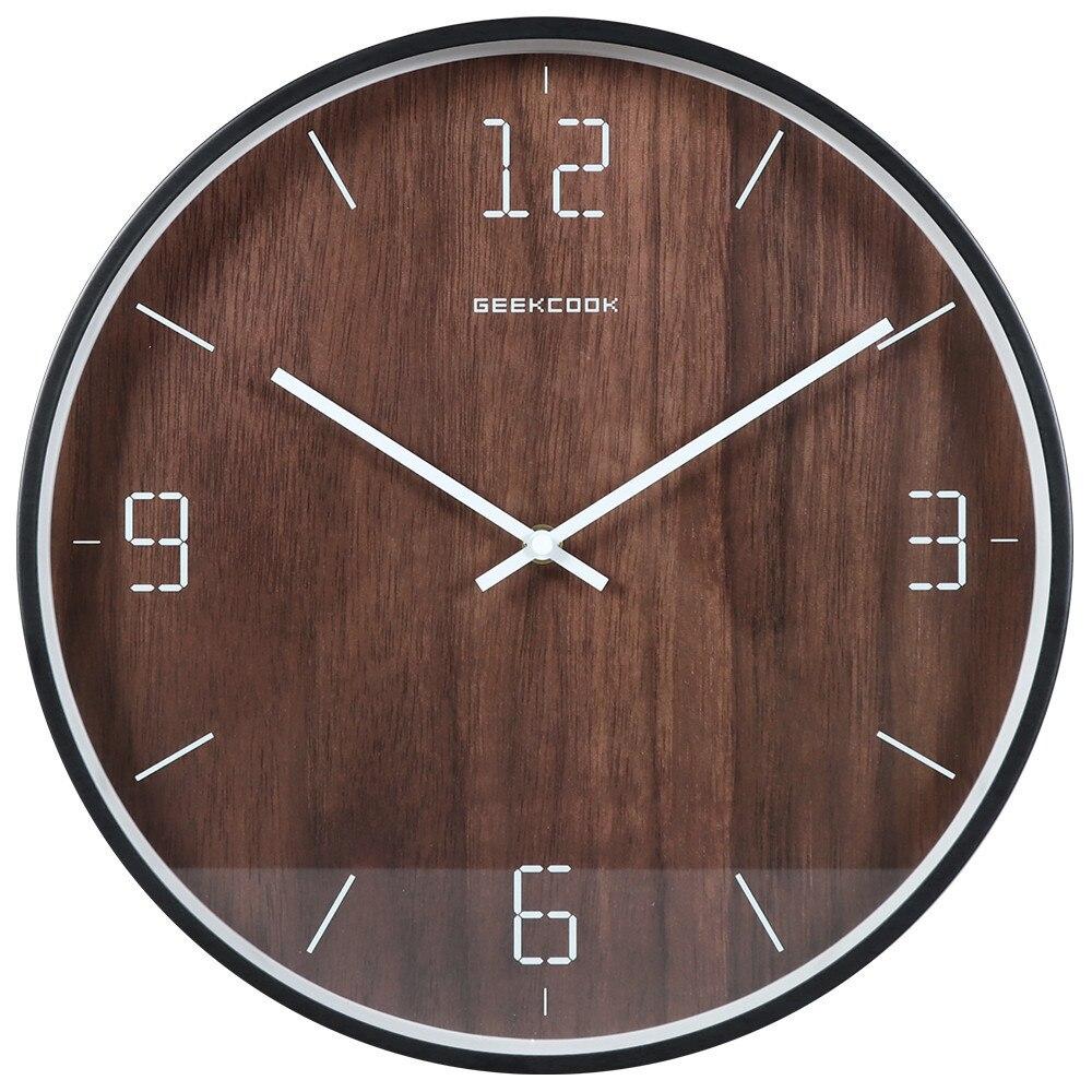 New Wall Clock 3D Metal Wood Grain Clock Nordic Minimalist Glass Surface Silent Movement  Wall Watch Modern Design Home Decor