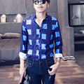 Hot 2015 new Fashion brand casual long-sleeve plaid shirt singer costumes nightclub shirts Formal dress