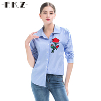 FKZ Vertical Striped Fashion Rose Floral Embroidery Blouse Long Sleeve Turn Down Collar Women All Match