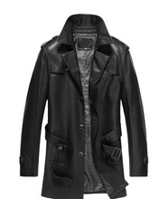 Mens Sheepskin Coats New Autumn Winter High-grade Quality Leather Jacket Men Casual Stand Collar 2 Color Mens Black Leather