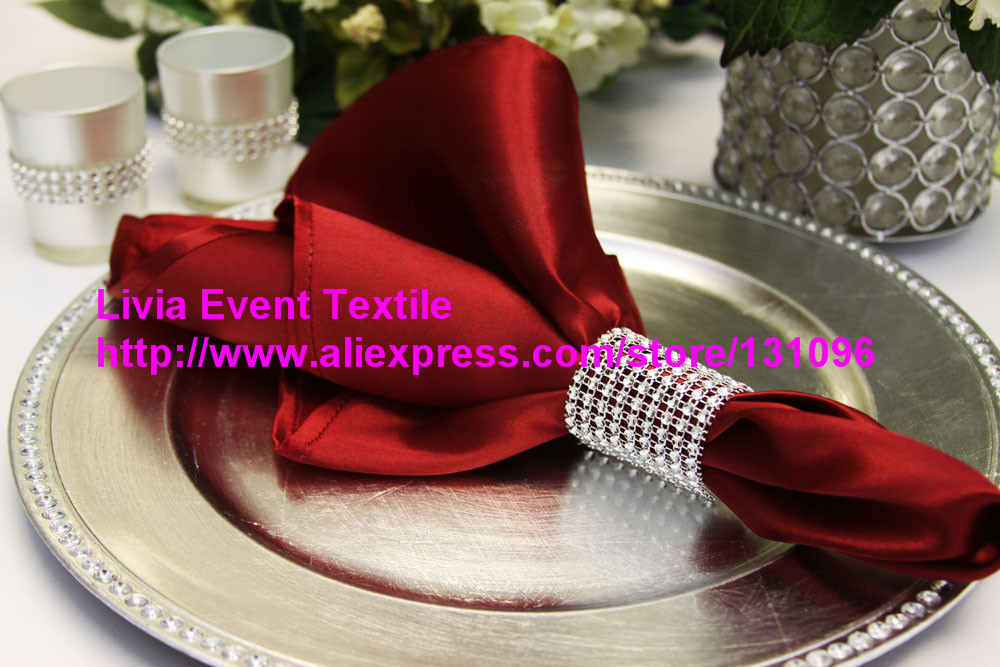 100pcs #23 Apple Red Satin Napkin 45x45cm ,Table Napkin For Weddings Events &Party&Restaurant &Hotel