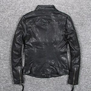 Image 4 - Womens slim fit fashionable genuine leather jacket green stand collar short moto biker leather jacket women sheepskin coat