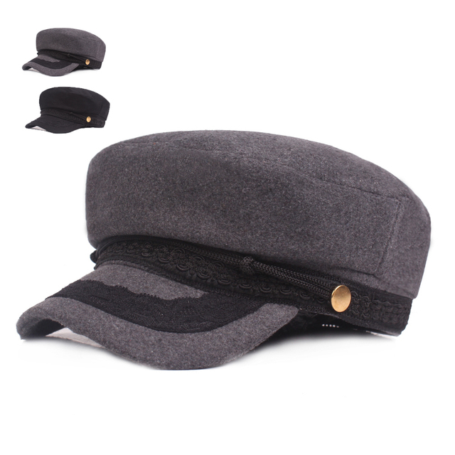 354358502 US $6.29 30% OFF Autumn Winter Women's Hat Quality Woolen Military Hats  Simple Casual Flat Top Caps Ladies Bone Adjustable Solid Tongue Boina  Cap-in ...