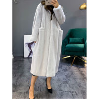Imported Women's Mink Fur Coat Women's Fashion Long Fur Coat Women's Thick Warm Mink Fur Outwear White Plus Size Jacket