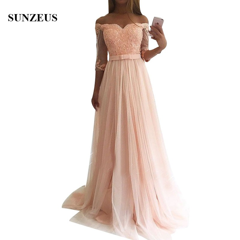 A-Line Sweetheart Off Shoulder Bridesmaid Dresses Long Pink Tulle Wedding Party Gowns With Appliques Sequins bridemaid dress