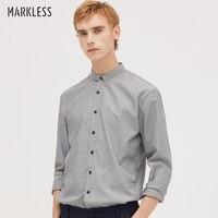 Markless Gray Striped Men Shirts chemise homme 2018 Autumn Fashion Business Casual Long Sleeve Shirt camisa masculina CSA8532M